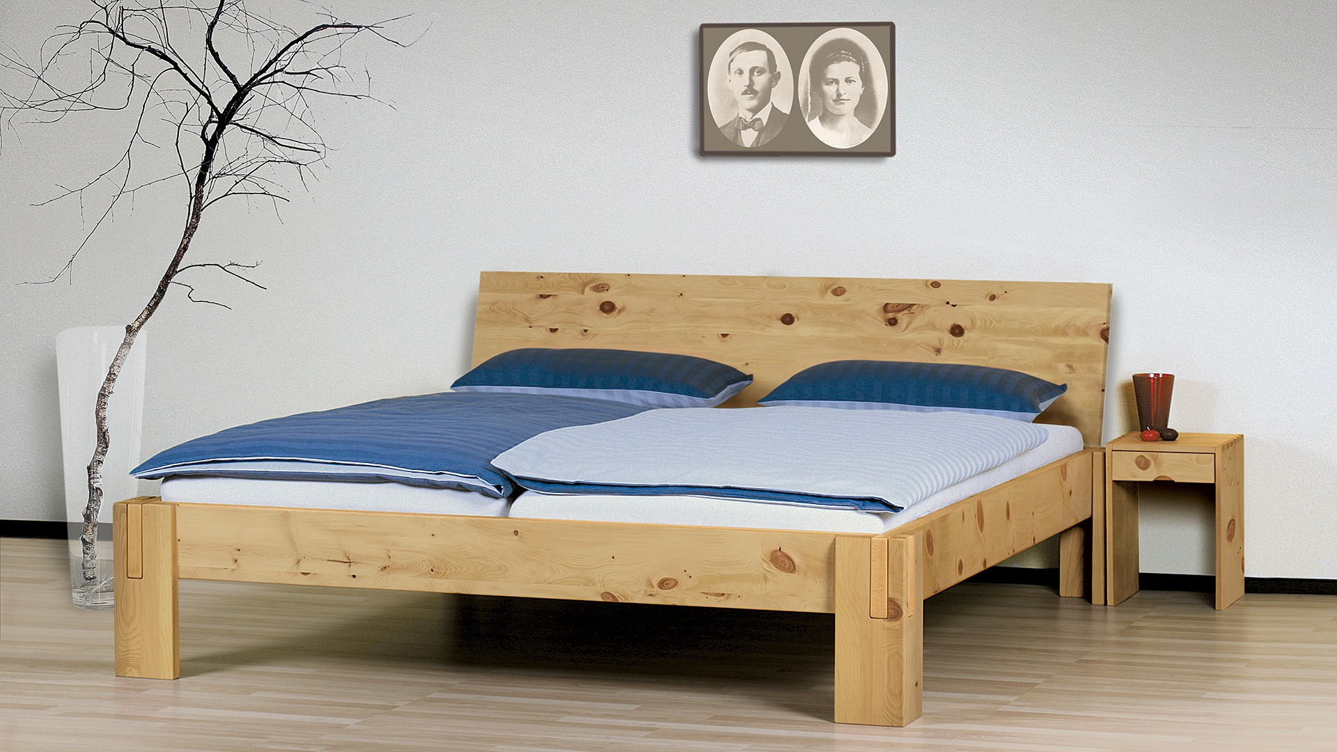 einzelbett und doppelbett salerno 01 zirbe. Black Bedroom Furniture Sets. Home Design Ideas